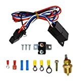 """yjracing 3/8"""" 175-185 Degree Electric Cooling Fan Thermostat Sensor Temperature Switch Relay Kit"""