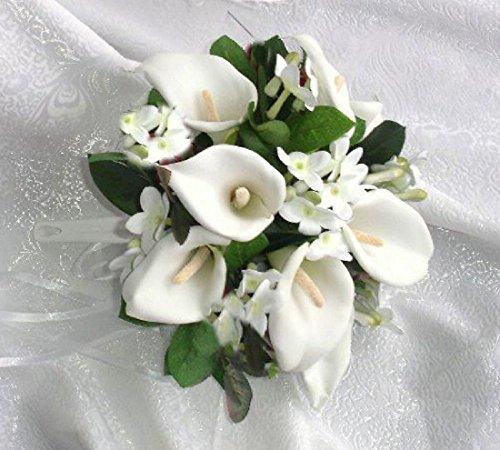 (WHITE Round Bridal Bouquet Calla Lilies Stephanotis Silk Wedding Flowers NEW)