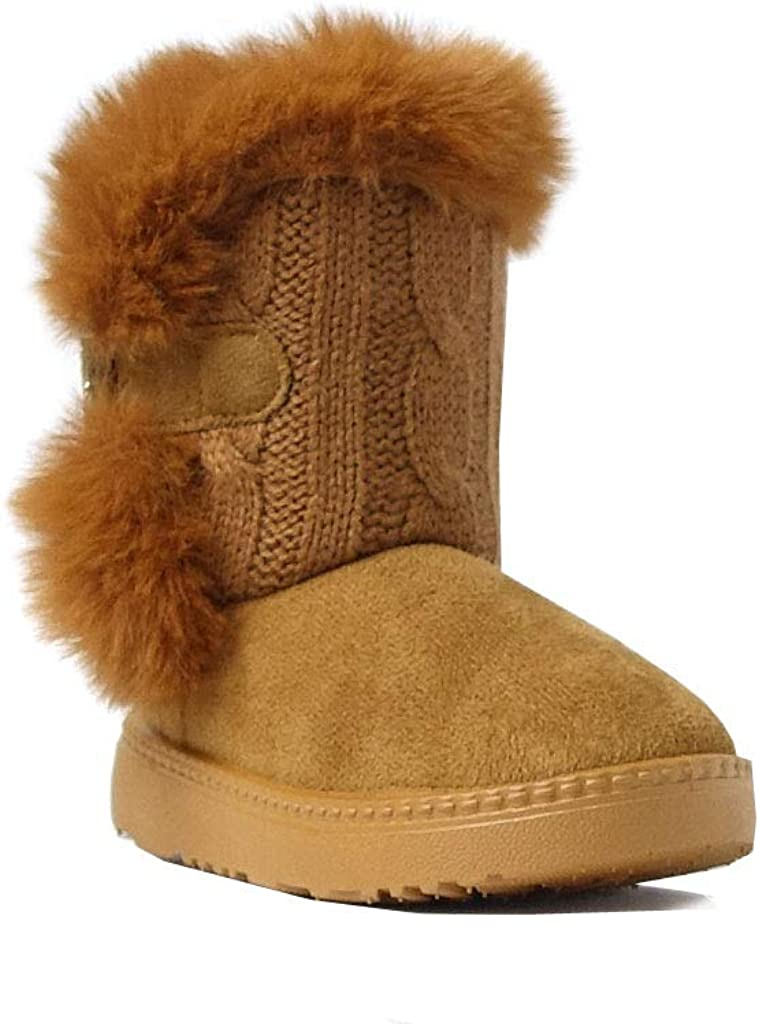 REDVOLUTION Kids Boots Toddler Girls Cute 2 Buttons Suede Knitting Shoe 285