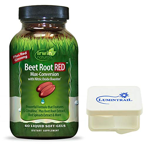 Irwin Naturals Beet Root RED Max-Conversion with Nitric Oxide Booster for Cardiovascular Health Blood Flow Support – 60 Soft-Gels – Bundle with a Lumintrail Pill Case