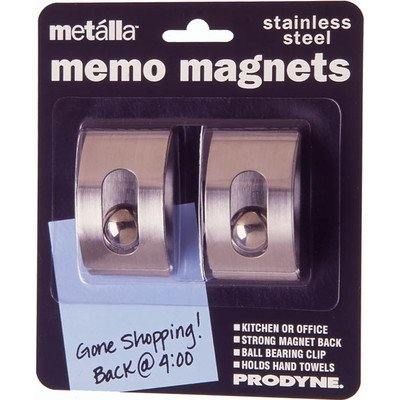 Magnetic Memo Clip - Prodyne M-22 Stainless Steel Magnetic Memo Clips 2 Count