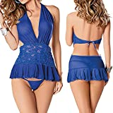 TATGB Blue Lace Sexy Passion Lingerie Backless Halter Babydoll G-String Dress+Briefs