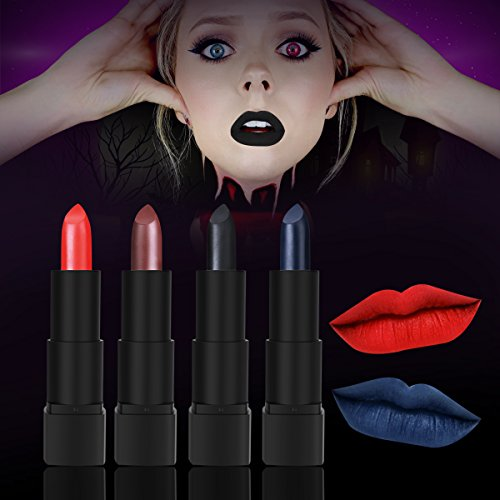 Black Lipstick, Matte Lipstick Set for Halloween, Theme Parties, Cosplay, Pack of 4 Colors (Witches Costume Makeup)