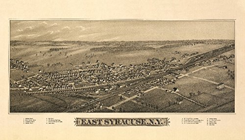 East Syracuse, New York - Panoramic Map (9x12 Fine Art Print, Home Wall Decor Artwork ()