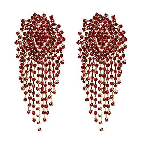 Crystal Beads Earrings Women Ethnic Jewelry Handmade Elegant Big Long Beads Earrings Red