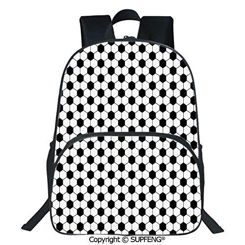 SCOXIXI Backpack Abstract Football Ball Pattern Monochrome Geometric Design Sports Fun Activity Decorative (15.75