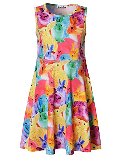 Jxstar Girls Animal Dress Rabbit Animal Print Sleeveless Summer Dress Rainbow Rabbit 160