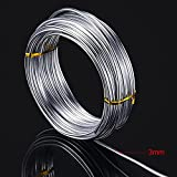 TecUnite 32.8 Feet Silver Aluminum Wire, 3 mm Thickness, Bendable Metal Craft Wire for Making Dolls Skeleton DIY Crafts