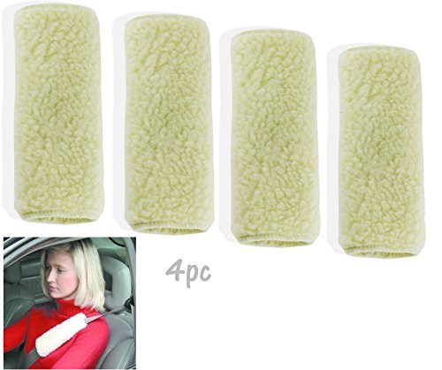 "ALAZCO Reversible Seat Belt Soft Comfort Shoulder Pad 9"" - Machine Washable Synthetic Wool (4pc)"