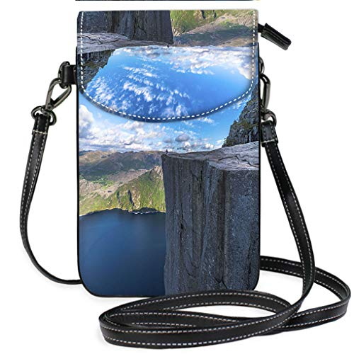 (Custom Trendy Shoulder Crossbody Bag Tourist Sitting at Famous Pulpit Rock Edge in Norway Multifunction Travel Crossbody Purse Wallet)