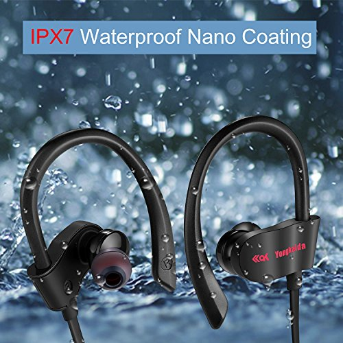 Bluetooth Headphones Wireless Earbuds Sport In-Ear IPX7 Sweatproof Earphones with Mic Super sound quality Bluetooth 4.1 ,8 Hours Play Time, Noise Cancelling Headsets Secure Fit Design Black Photo #7