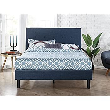 zinus upholstered navy button detailed platform bed wood slat support queen