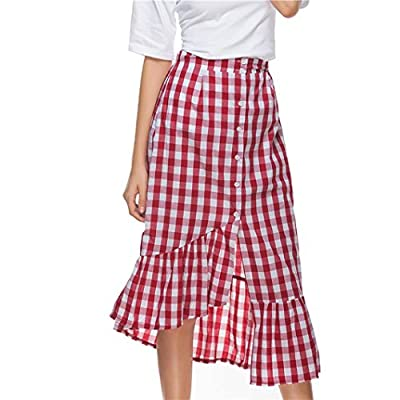 UOFOCO Mid-Calf Skirt for Women Plaid Casual Ruffled Female Button Party Slit High Waist