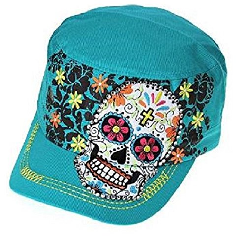 K&B Adjustable Rhinestone Sugar Skull Cadet Cap Hat Black (Turquoise Blue) Skull Cadet Hat