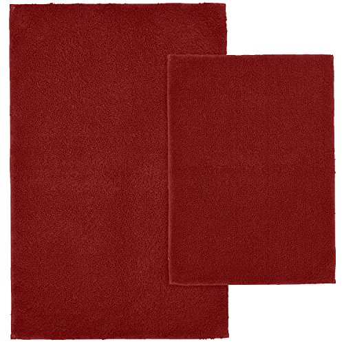 Garland Rug 2-Piece Queen Cotton Washable Rug Set, Chili Pepper Red by Garland Rug