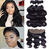 Flady Hair Brazilian Body Wave 3 Bundles with Lace Frontal Closure Ear to Ear Unprocessed 7A Brazilian Virgin Human Hair Bundles with Lace Frontal Closure 13×4 Natural Color (22 24 26+20)