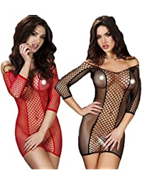 Womens Mesh Lingerie Chemise Dress Fishnet Lingerie Babydoll Nighties Minidress