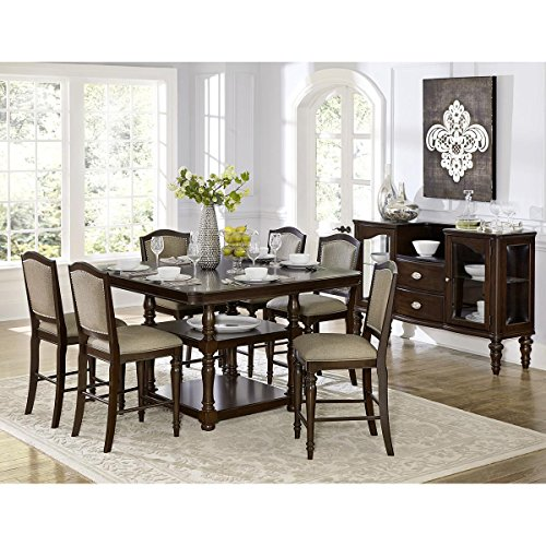 Montello 9 Piece 54 inch Square Counter Height Dining Set in Dark Cherry - Table, 8 Chairs