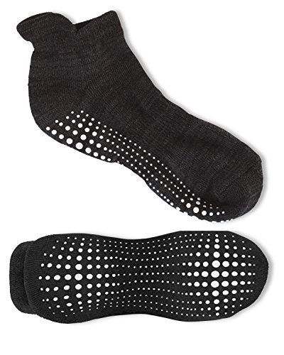 Review LA Active Grip Socks – 2 Pairs – Yoga Pilates Barre Ballet Non Slip Covered (Slate Grey and Stellar Black), Medium