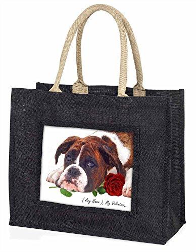 Advanta Boxer personalisedany Name Große Einkaufstasche/Weihnachtsgeschenk, Jute, schwarz, 42x 34,5x 2cm