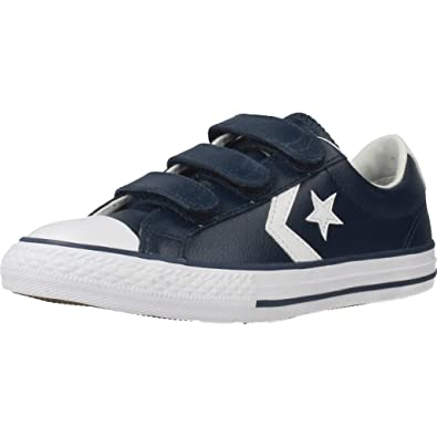 Converse Youth Star Player 3V Ox Navy White Leather Trainers 38 EU 2fc8a92c8