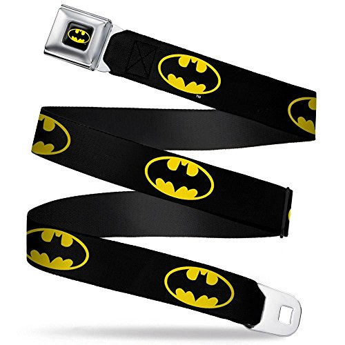 Buckle-Down | DC Comics Batman Logo Black/Yellow Seatbelt Belt -