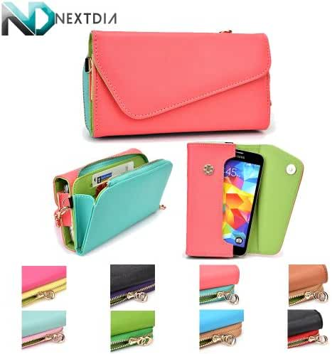 Blu Life One L120 Womens Wristlet Clutch Case {Semi-Gloss Salmon Pink and Sky Blue with Matte Olive Green} with Credit Card Holder