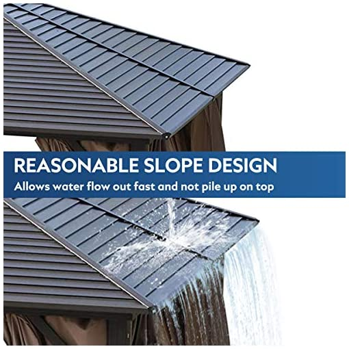 Garden and Outdoor MELLCOM Hardtop Gazebo Galvanized Steel Outdoor Gazebo Canopy 10' ×13' Single Roof Pergolas Aluminum Frame with Netting… pergolas