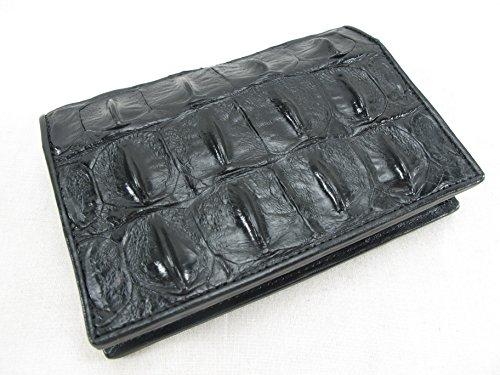 PELGIO Genuine Crocodile Alligator Skin Leather Passport Holder Wallet (Black)