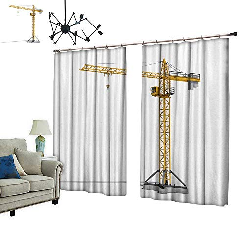 PRUNUS Window Curtains with Hook Yellow Tower cr e Full Height Isolate White backgroun buil Improve Living Environment,W120 xL96.5