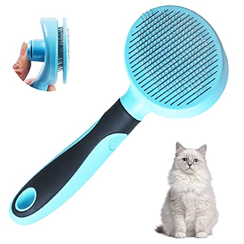 Cat Brush for Shedding, Slicker Pet Grooming Brush for Cat and Small Medium Dog, Self Cleaning Slicker Brush(Blue)