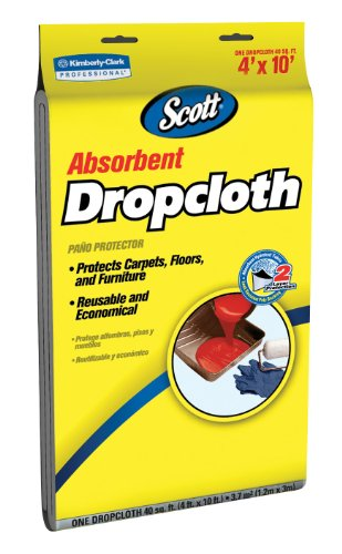 Kimberly-Clark Scott 11659 Absorbent Drop Cloth, 10' Length x 4' Width, White (Case of 6) - Case 6 Tarps
