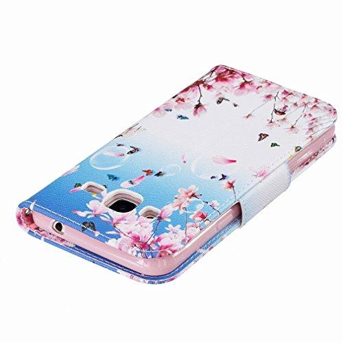 Yiizy Samsung Galaxy J3 (2016) J320 Funda, Flores Floración Diseño Solapa Flip Billetera Carcasa Tapa Estuches Premium PU Cuero Cover Cáscara Bumper Protector Slim Piel Shell Case Stand Ranura para Ta