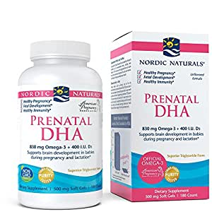 Nordic Naturals - Prenatal DHA, Supports Brain Development in Babies During Pregnancy and Lactation, 180 Soft Gels