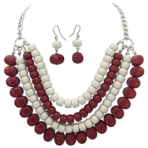 4 Row Layered Bib Bubble Statement Silver Tone Necklace & Earrings Set (Maroon Red & White)]()