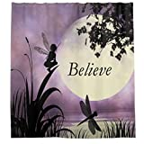 Nature Modern Artwork Decor Collection, Elf and Dragonfly at Lake Moon Light Stars Sky Theme Fabric Shower Curtain, Purple and Black Colors (65Wx72H)