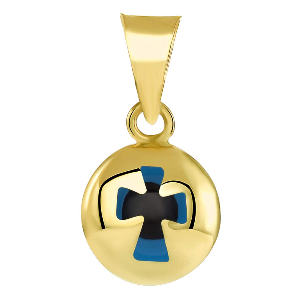 15mm x 8.8mm 14k Yellow Gold Extra Small Blue Evil Eye Religious Cross Pendant