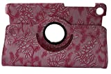 iStyle Dealer PU Leather Luxury Stylish Slim-Fit Ultra Lightweight 360 Degrees Rotating Modern Art Embossed Flower Pattern Design Series Smart Cover Case Skin Multi-Angle Viewing for Google Nexus 7 2nd 2013 Generation with Free Gifts Bonus Stylus Pen and Cleaning Cloth Pad - Pink