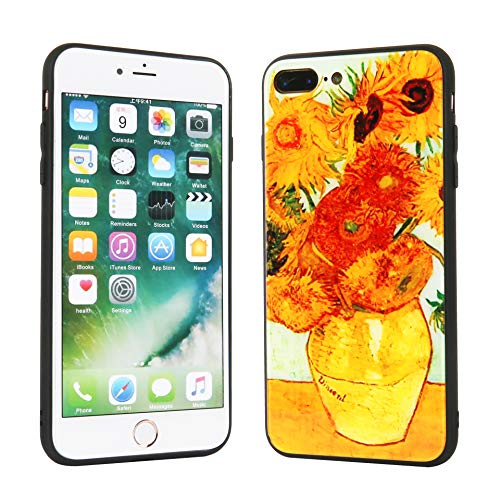 Beatuiphone Case Compatible iPhone 7 Plus iPhone 8 Plus, Tempered Glass Back +TPU Frame Hybrid Case Shock Scratch Resistant with Van Gogh Sunflower Painting Cover for iPhone 7 Plus iPhone 8 Plus ()