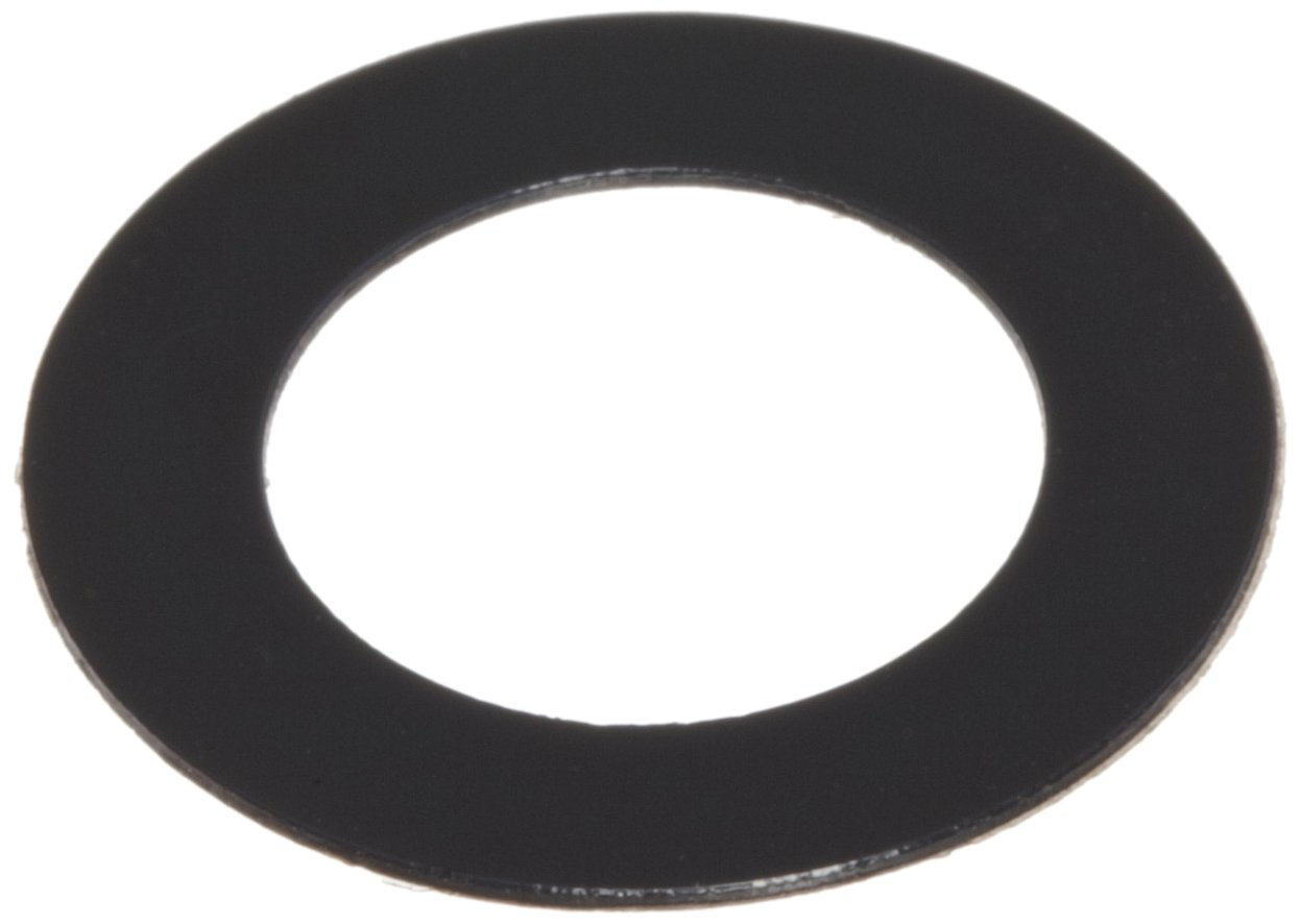 PVC (Polyvinyl Chloride) Round Shim, Black, 0.0125'' Thickness, 3/8'' ID, 5/8'' OD (Pack of 10) by Small Parts