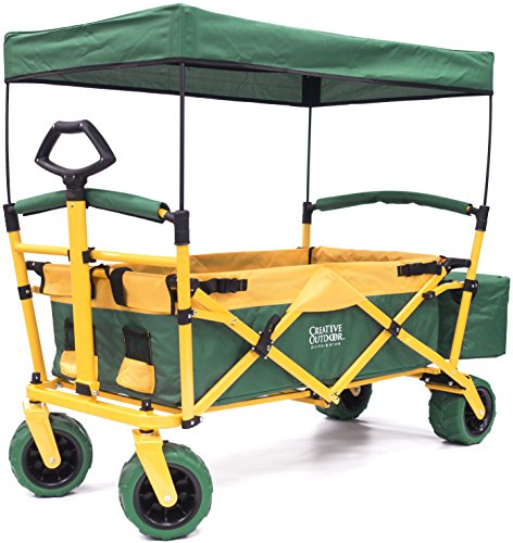 Folding SPORTS Wagon with All-Terrain Rubber Tires, Removable Canopy, and Storage Basket + FREE Cooler (Green fabric/Yellow frame)