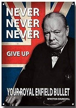 VINTAGE SIGN DESIGNS Never.Give Up Your Royal Enfield Bullet Qualit/é M/étal Signe 285mm x 200mm x 1mm Plaque