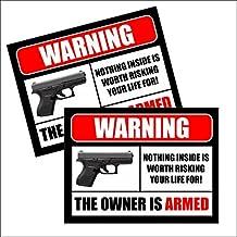 (2) 2nd Amendment Handgun Pistol Gun Owners Warning Security Sticker Decal 10002