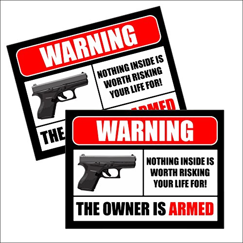 (2) 2nd Amendment Handgun Pistol Gun Owners Warning Security Sticker Decal ()