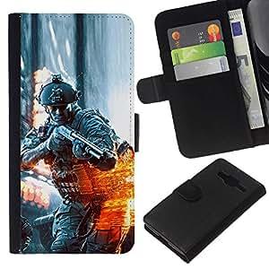 NEECELL GIFT forCITY // Billetera de cuero Caso Cubierta de protección Carcasa / Leather Wallet Case for Samsung Galaxy Core Prime // BATTLEFILD SOLDADO