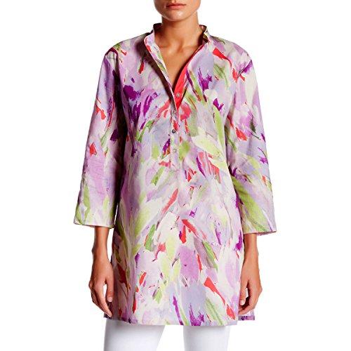 [KC Signatures Women's Cotton Watercolor Collar Top Tunic Shirt (Large)] (Paisley Silk Jersey)