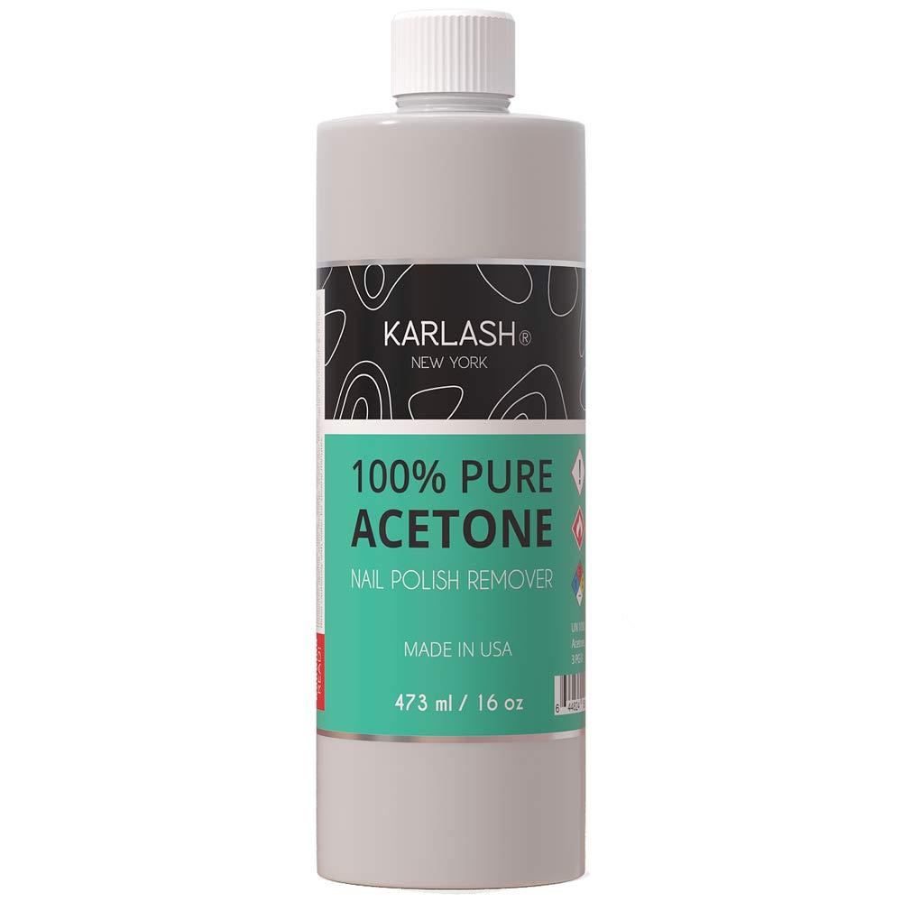 Karlash Professional 100% Pure Acetone Polish Nail Remover 16 oz - Quick, Professional Nail Polish Remover - For Natural, Gel, Acrylic, Sculptured Nails