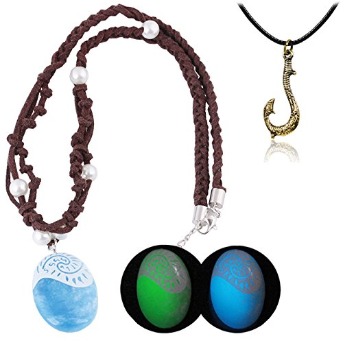 T-PERFECT LIFE Hero Magic Fish Hook and Polynesian Princess Luminous Seashell Necklace 2 Set for Kids (Green light)