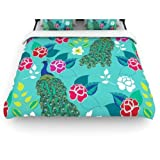 Kess InHouse Anneline Sophia ''Mexican Peacock'' 104 by 88-Inch Teal Rainbow Woven Duvet Cover, King/California King
