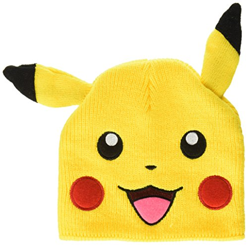 BIOWORLD Pokemon Pikachu Big Face Fleece Cap Beanie with Ears (Big Man Costume Ideas)